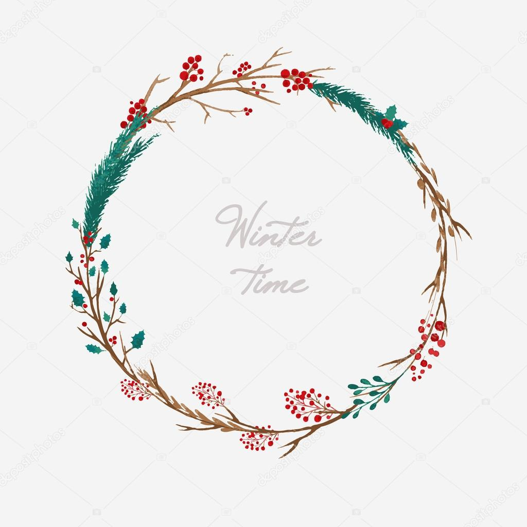 Watercolor Christmas Wreath Stock Vector C Harmonia Green 127291866