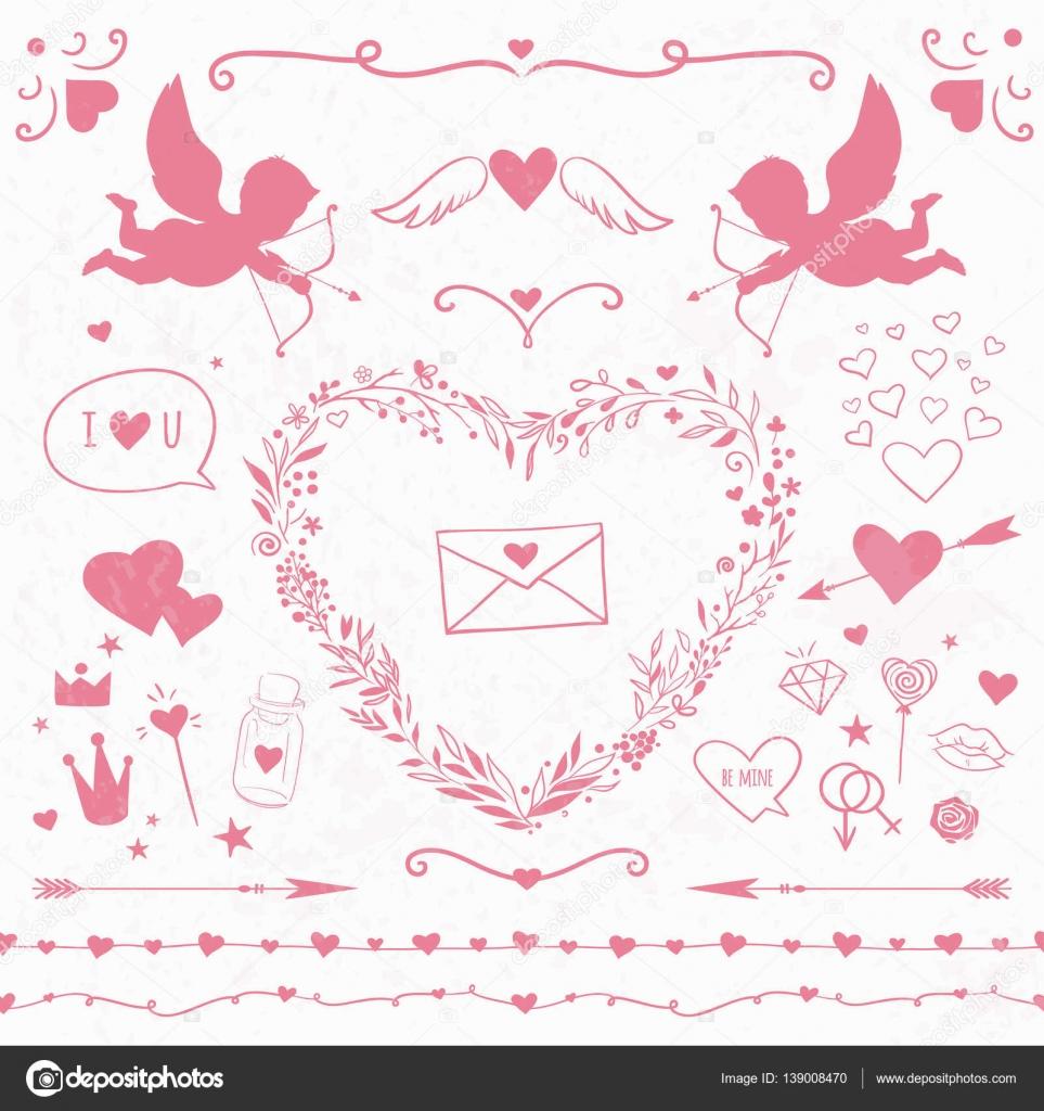 Marcos, corazones, cupidos y decoración romántica rosa — Archivo ...