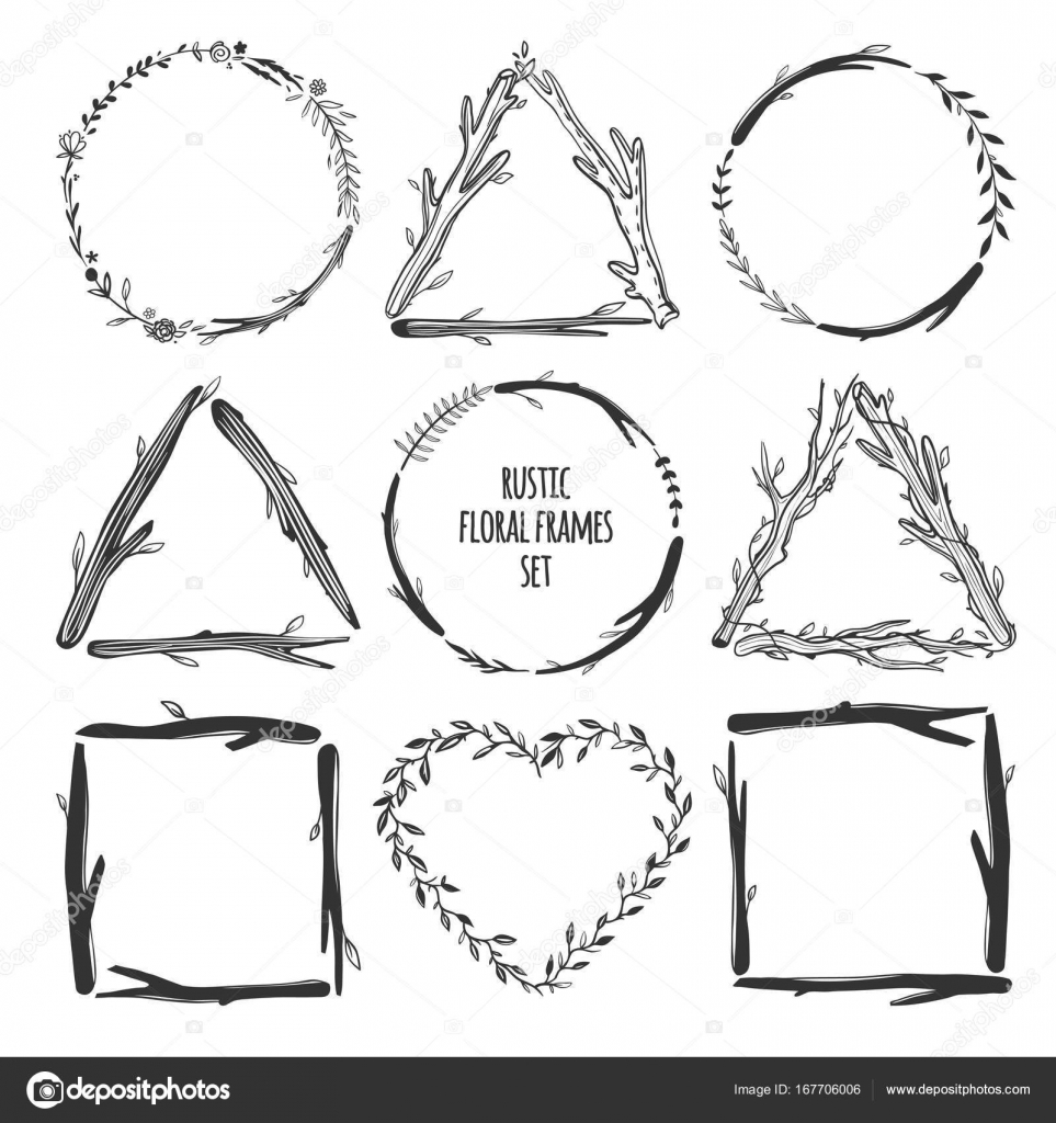 Beautiful Rustic Frames Isolated On White Hand Drawn Vector Floral Round Wreaths Square Triangle And Heart Shaped Boho