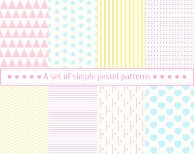 Set pastel seamless patterns. Seamless background. Pastel colors