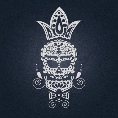 The skull on a on a light background for Halloween.  Day of the Dead in Mexico.