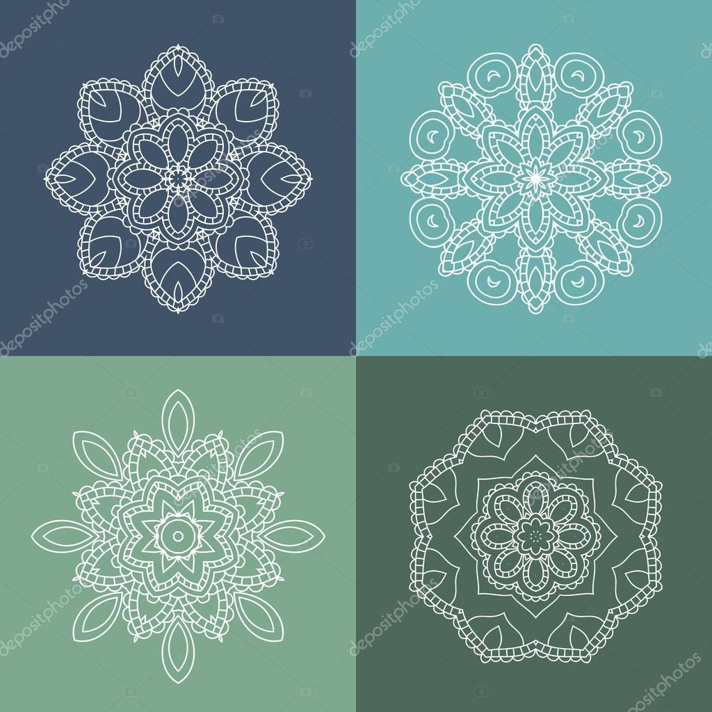 Vintage decorative elements. Set of beautiful ethnic, oriental o