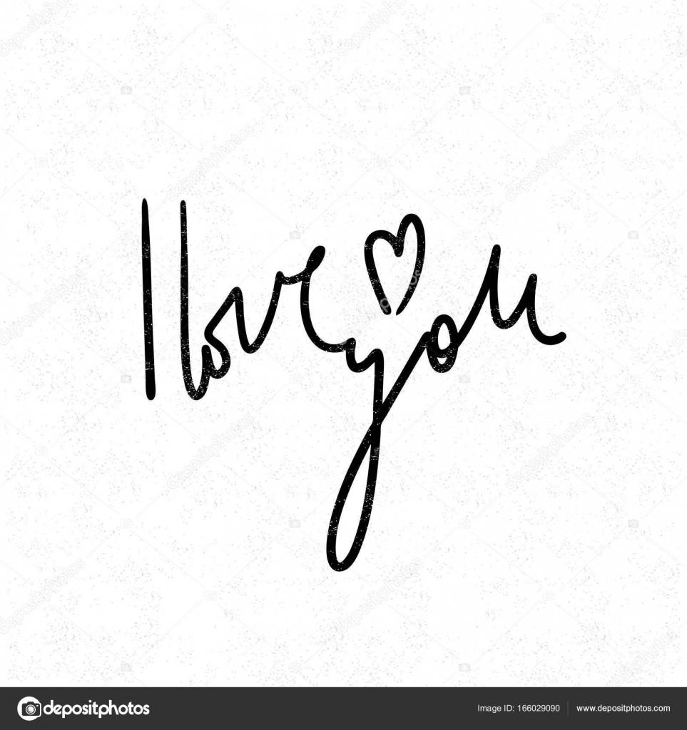Ich liebe dich. Schwarz-weißer Schriftzug - Vektorgrafik