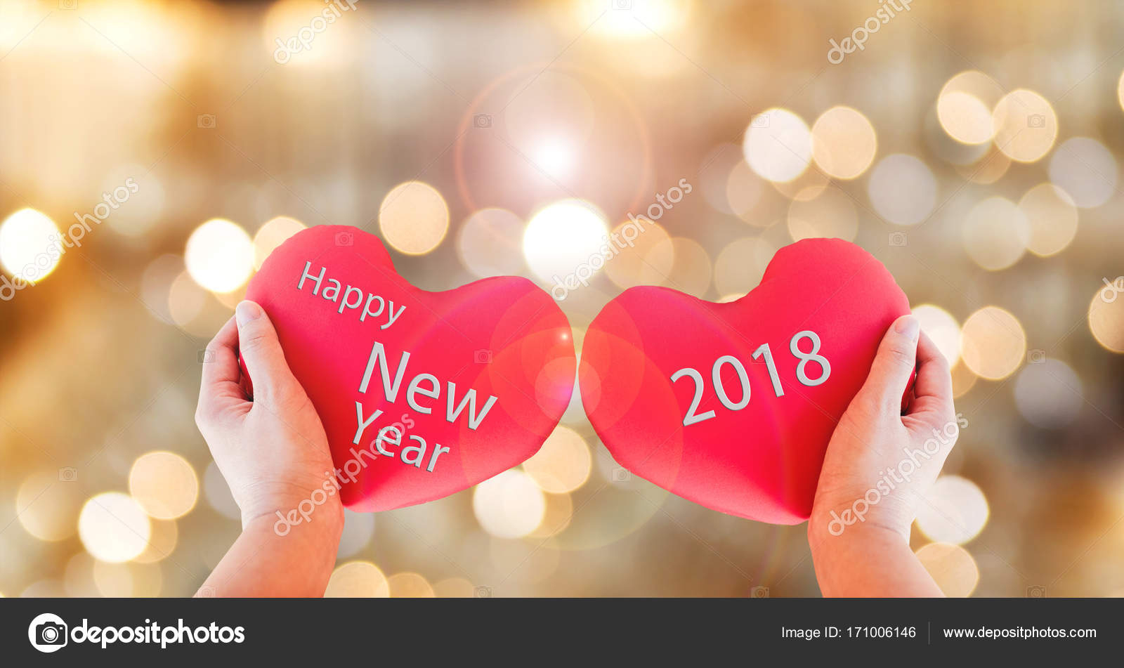 couple red heart with text happy new year 2018 on gold bokeh bac stock photo