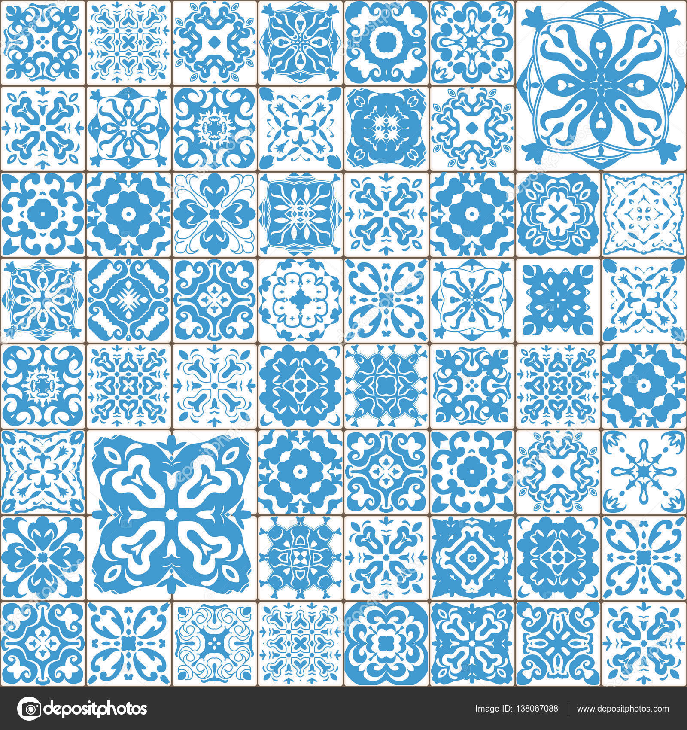 naadloze tegel patroon kleurrijke lissabon mediterrane