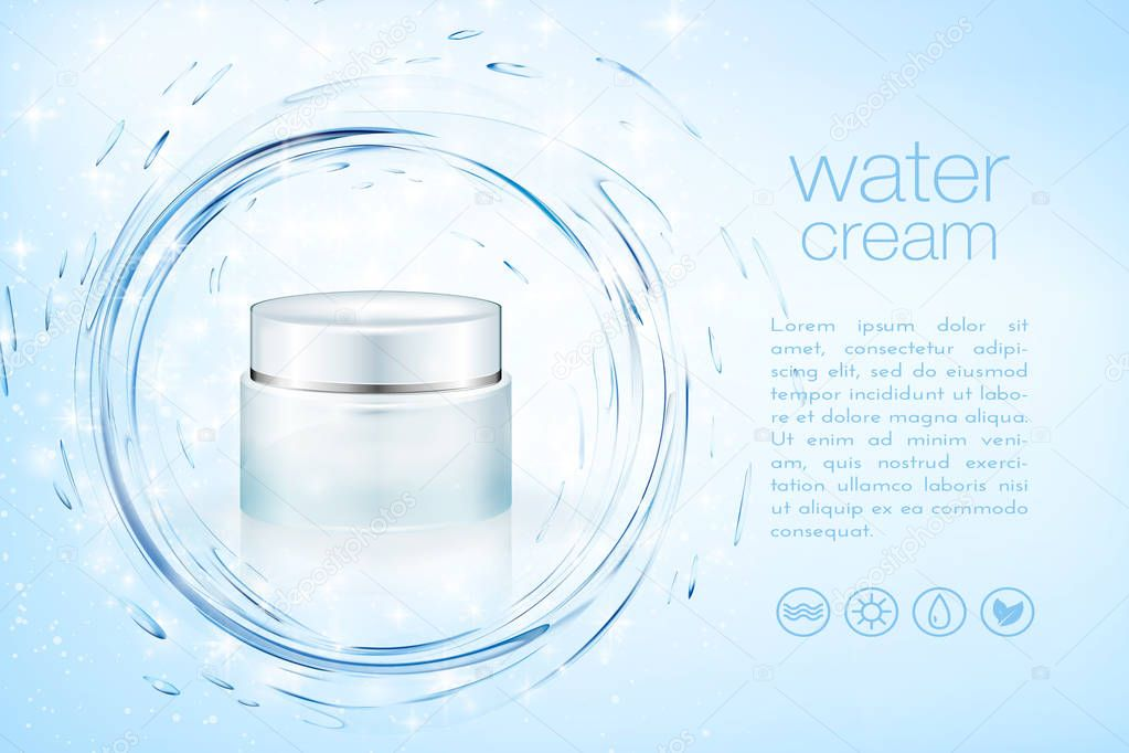 Aqua cream cosmetic product ads, hydrating facial skincare mock up template for christmas seasonal sale. Turquoise mask bottle isolated on glitter particles with water splash. 3D illustration.