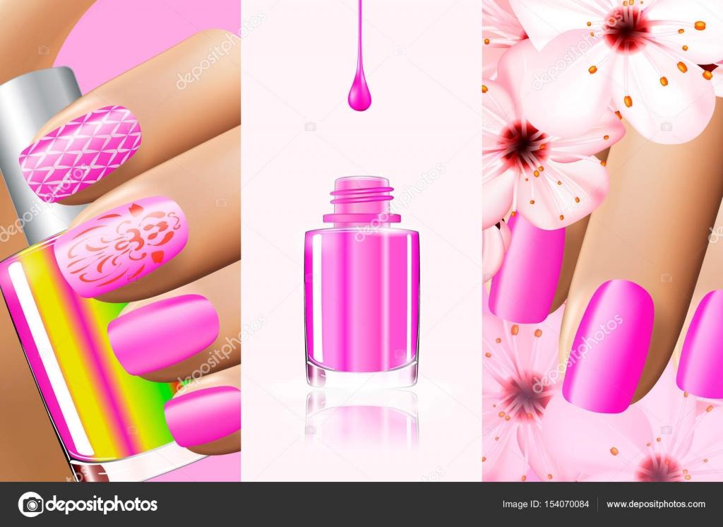 Colorida colección rosa de diseños de uñas para el verano y ...