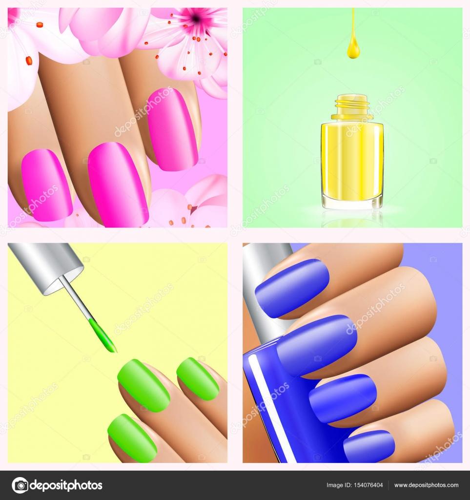 Colección de colores del arco iris de diseños de uñas por 4 ...