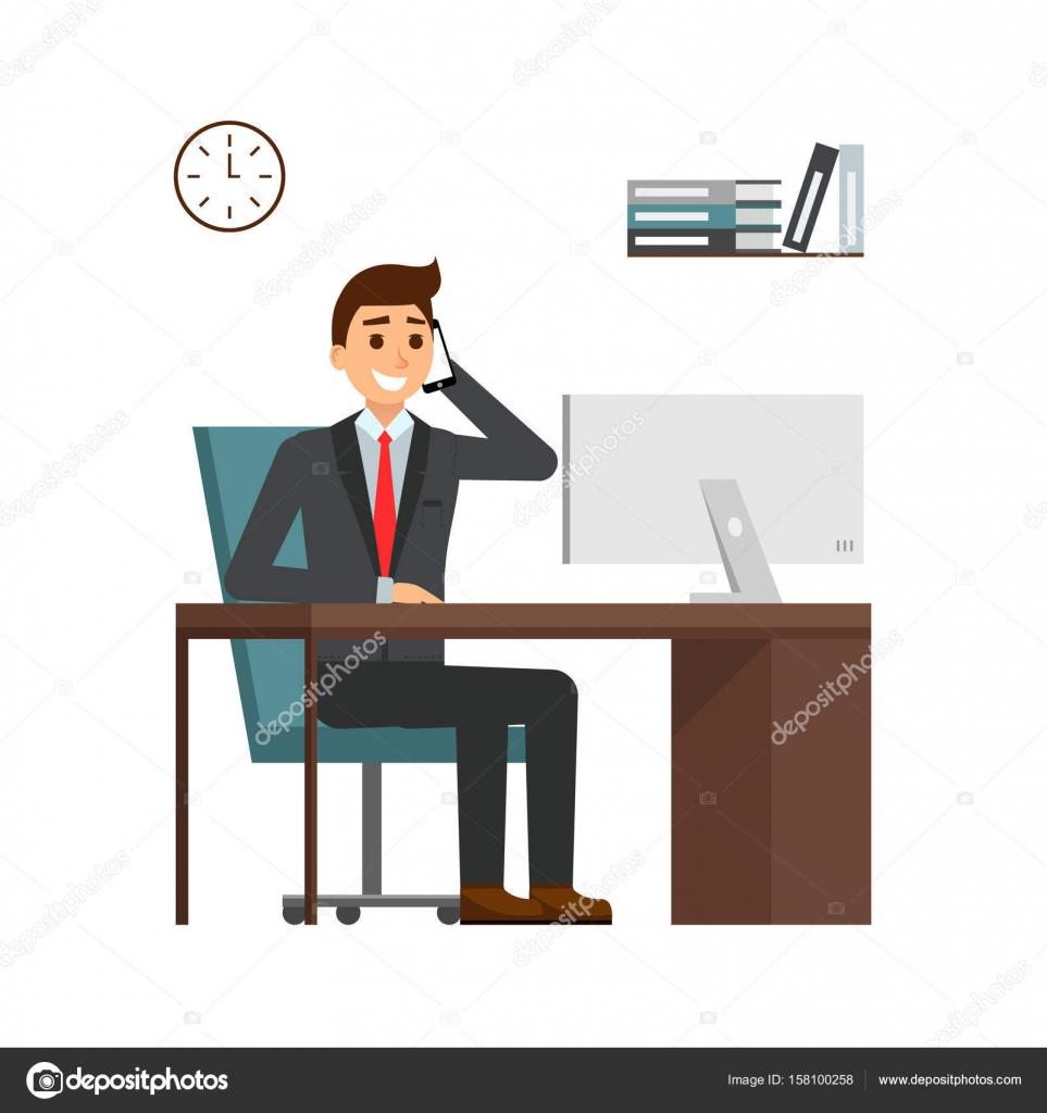 Hombre de negocios sentado en el escritorio en la oficina for Fotos para oficina