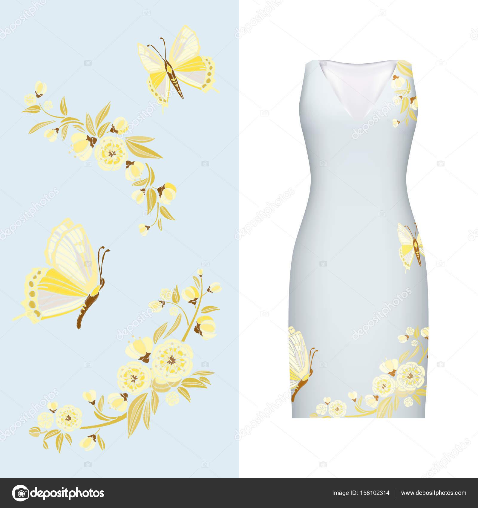 Bordado de Vector, floral patrón de la mariposa, sale y se levantó ...