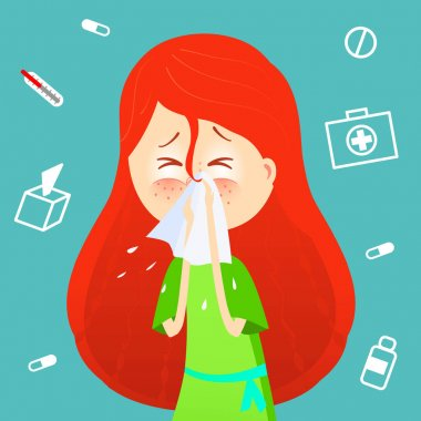 Sick girl. Allergy kid sneezing. Vector cartoon illustration. ill child with flu or virus. Health care concept. Runing noise symptom. infographic poster. Season allergy. clip art vector