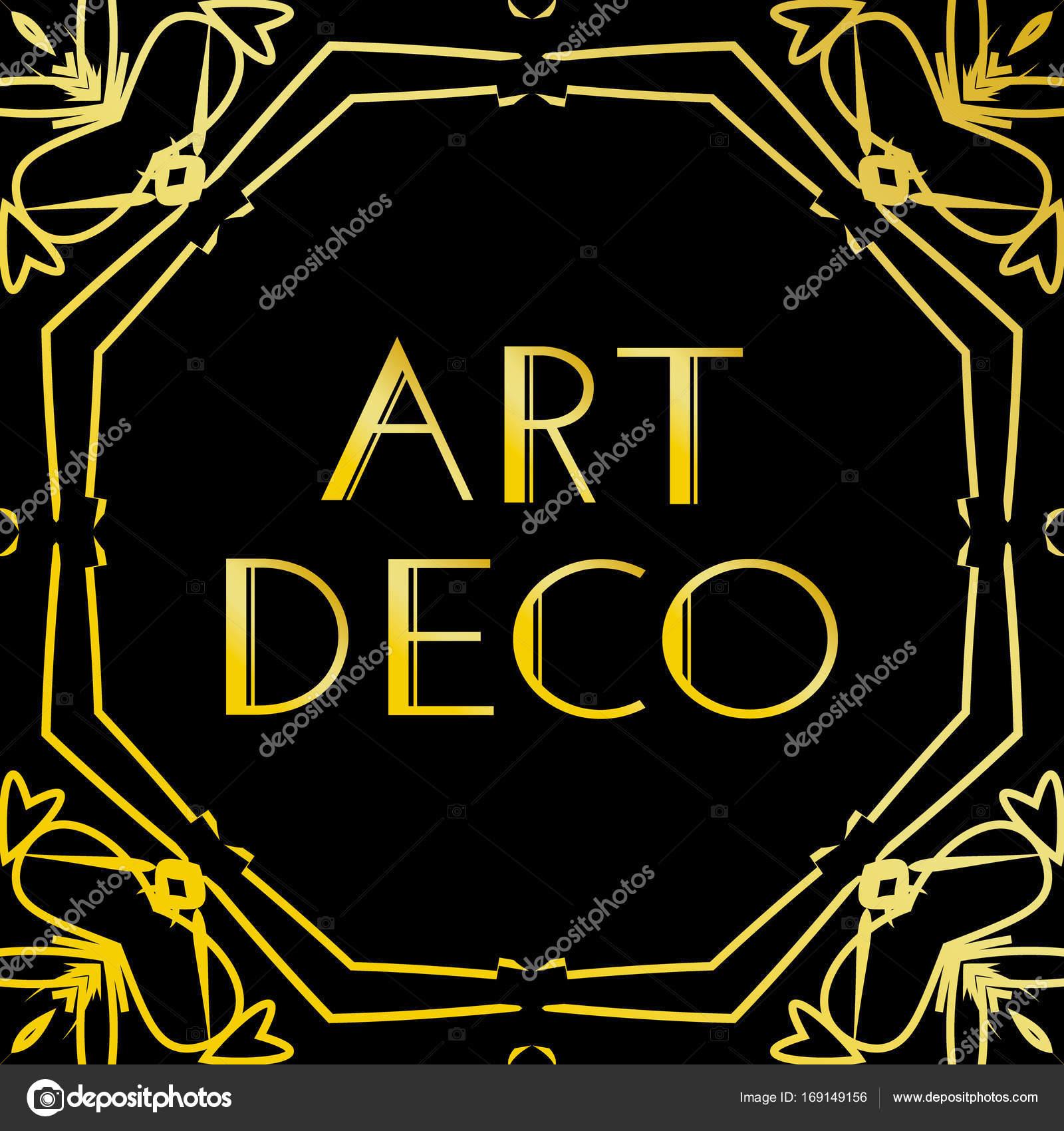 Art-Deco-Vintage-Rahmen oder Rahmen. Luxus-Design auf schwarzem ...