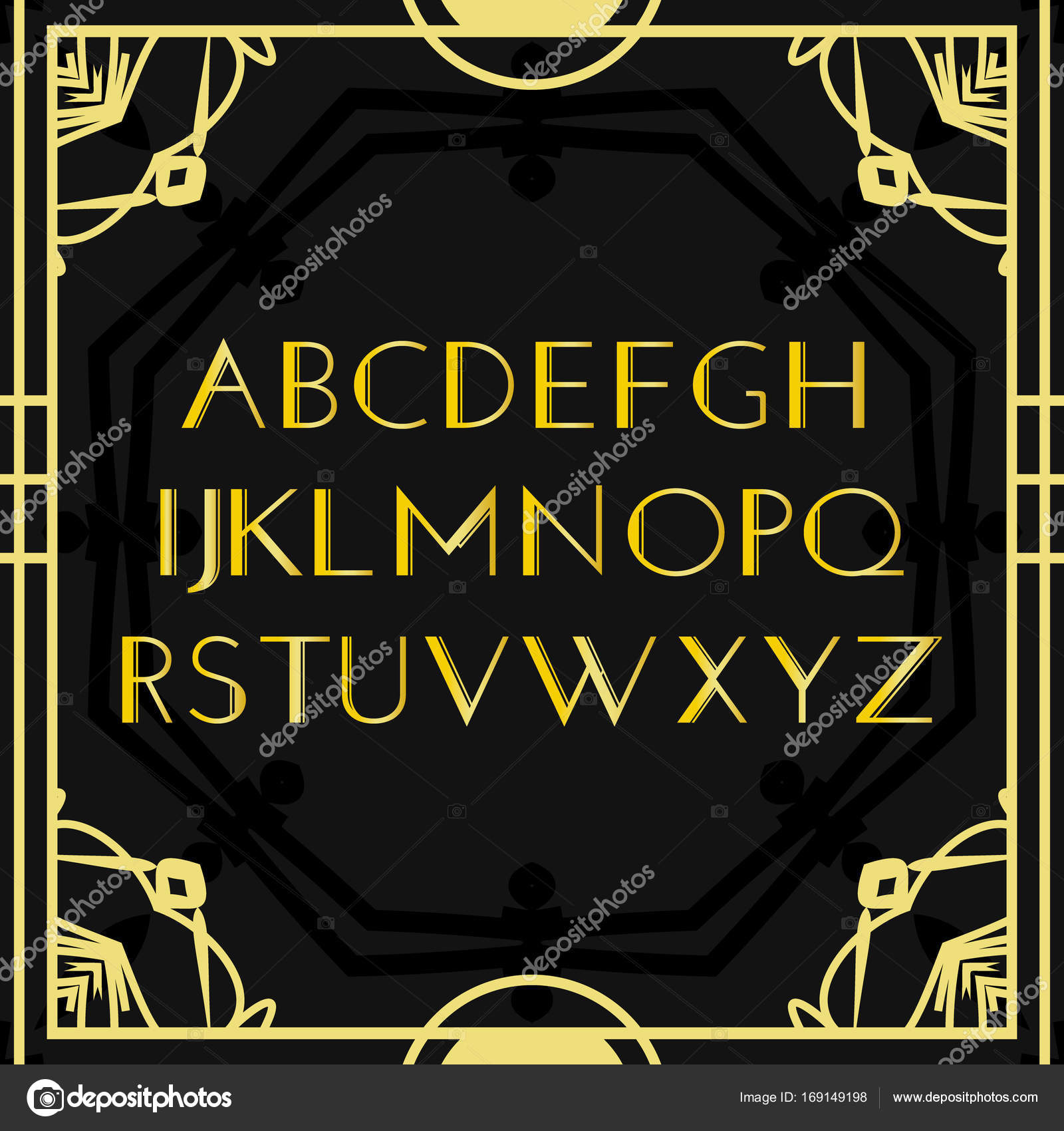 Font vector art deco vintage alphabet retro gold frame for Art deco decoracion