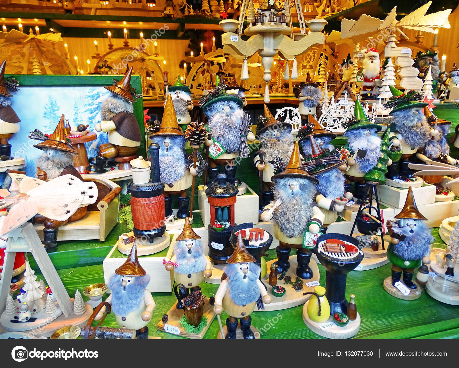 German Christmas Decorations.Christmas Market With Traditional German Christmas