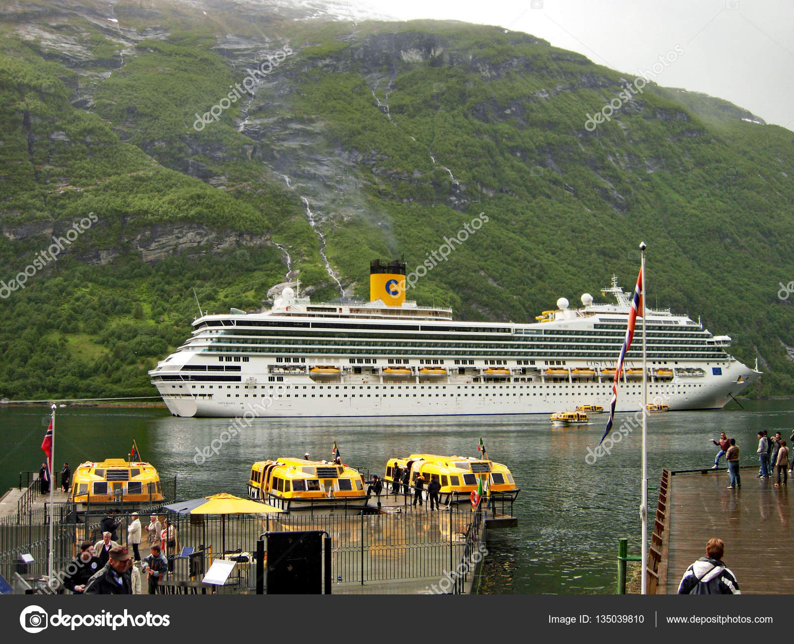 Cruise Ship Costa Magica Anchored On The Geirangerfjord In Norway - Cruise ship norway