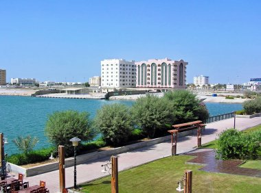 View over the harbor of Ras Al-Khaimah in the United Arab Emirates (UAE)