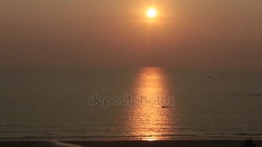 Beautiful sunset at the beach, amazing colors. Tropical, Goa.