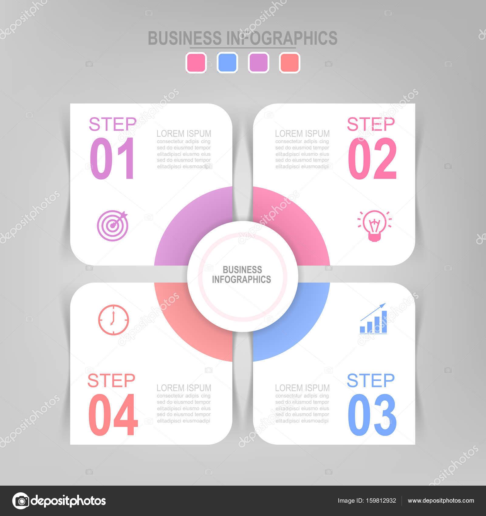 Infografik des Schrittes, flachen Bauweise der Business Icon Vektor ...