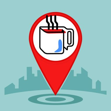 Map pin sign location icon .Coffee or cup of tea