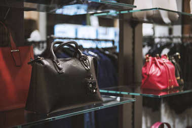 Wome handbags in a store