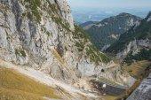 Fotografie Tiefer Blick auf die Wendelstein-Zahnradbahn