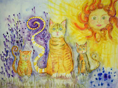 Ginger cat with two kitten on a sunny day in a lavender field. The dabbing technique near the edges gives a soft focus effect due to the altered surface roughness of the paper.