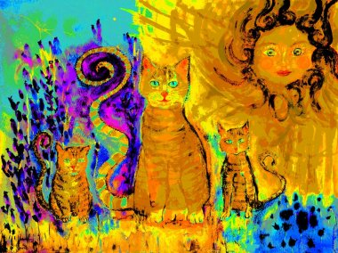 Pop art ginger cat with two kitten on a sunny day in a lavender field. The dabbing technique near the edges gives a soft focus effect due to the altered surface roughness of the paper.