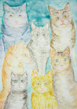 Gathering of different kind of cats with a turquoise background . The dabbing technique gives a soft focus effect due to the altered surface roughness of the paper.