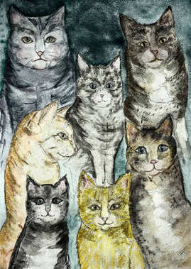 Gathering of different kind of rustic cats with a turquoise background . The dabbing technique gives a soft focus effect due to the altered surface roughness of the paper.