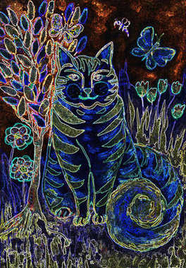 Psychedelic striped blue cat with tree of life. The dabbing technique gives a soft focus effect due to the altered surface roughness of the paper.