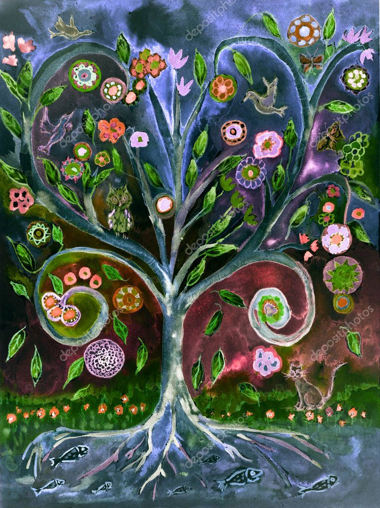 Folk art tree of life in the night. The dabbing technique gives a soft focus effect due to the altered surface roughness of the paper.
