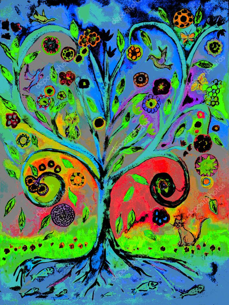 Pop art tree of life. The dabbing technique gives a soft focus effect due to the altered surface roughness of the paper.