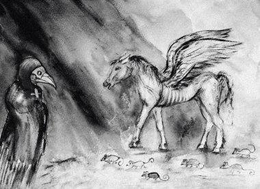 Drawing of pale horse of the apocalypse in  black and white. The dabbing technique near the edges gives a soft focus effect due to the altered surface roughness of the paper.
