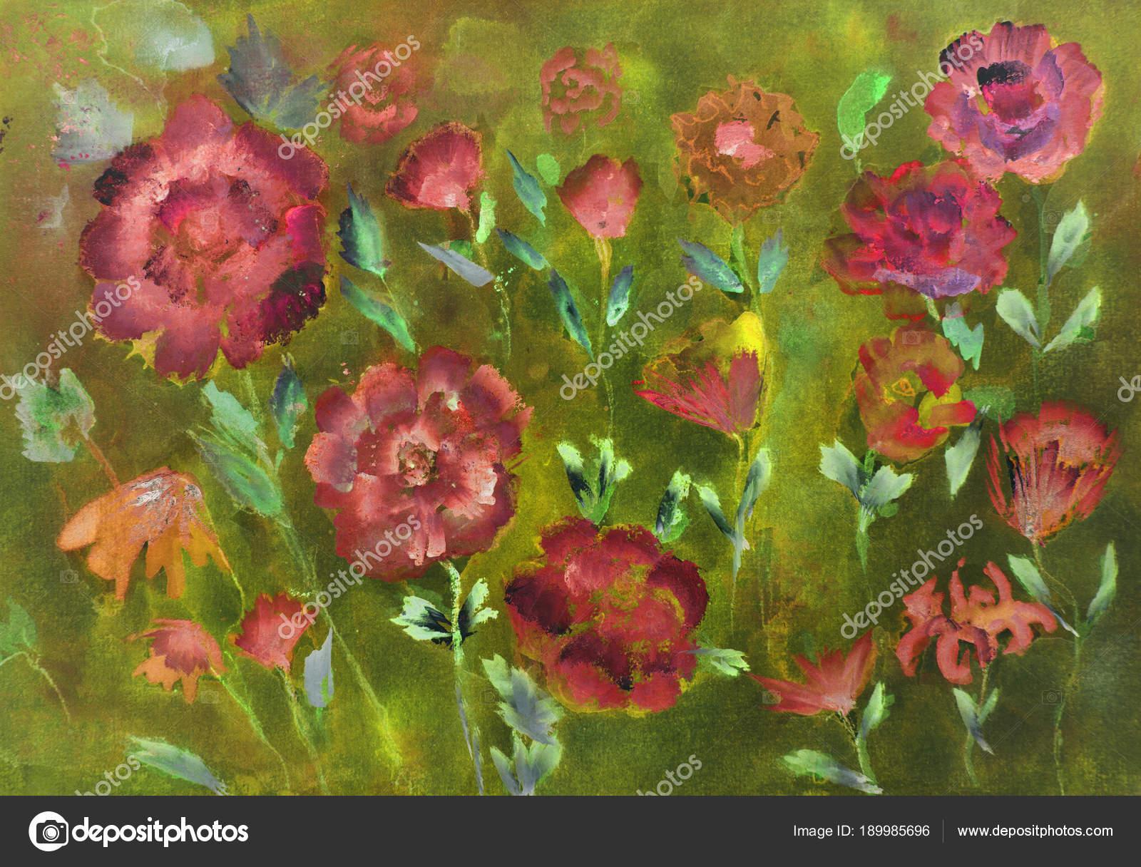 Verschiedene Arten Von Rosen Auf Grunem Hintergrund Die Betupfen