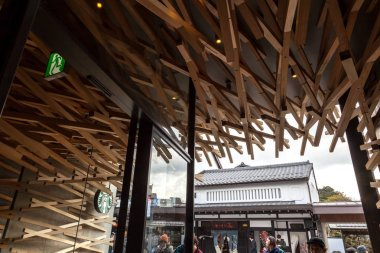 Starbucks Coffee at Dazaifu use over 2000 wooden batons line the interior of the shop for unique and make a structure that harmonizes with such townscape.