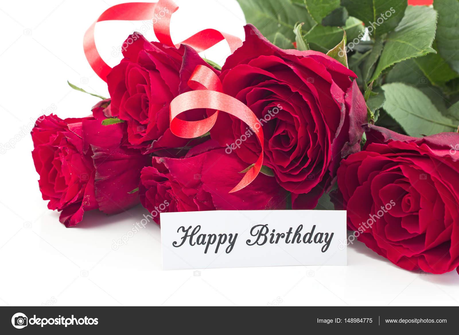 Cartolina Di Buon Compleanno Con Il Mazzo Di Rose Rosse Foto Stock
