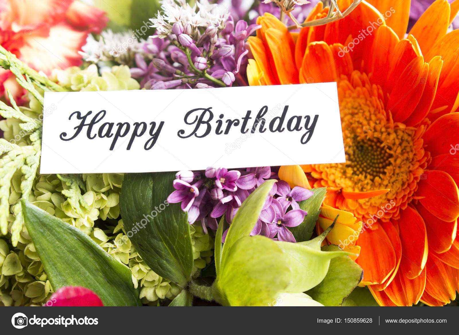 Happy Birthday Card Withf Spring Flowers Stock Photo Simonida