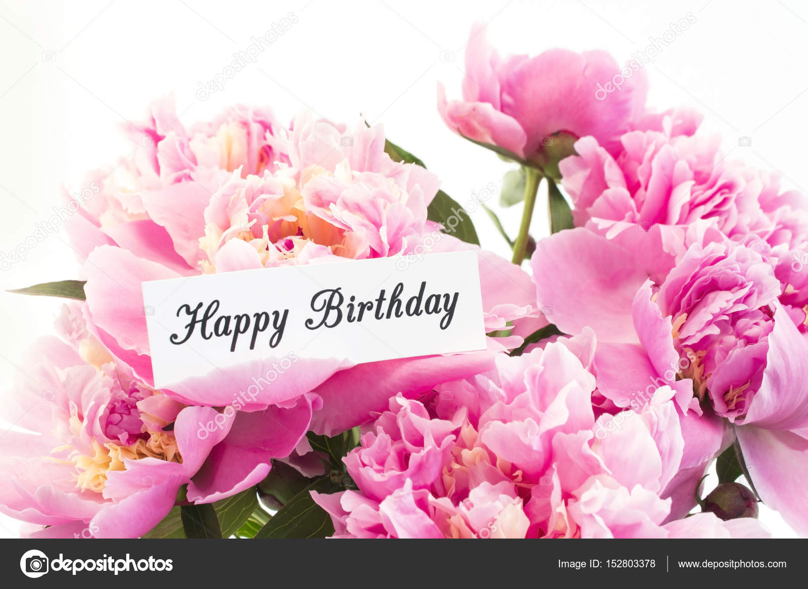 Happy birthday card with bouquet of pink peonies stock photo happy birthday card with bouquet of pink peonies stock photo izmirmasajfo