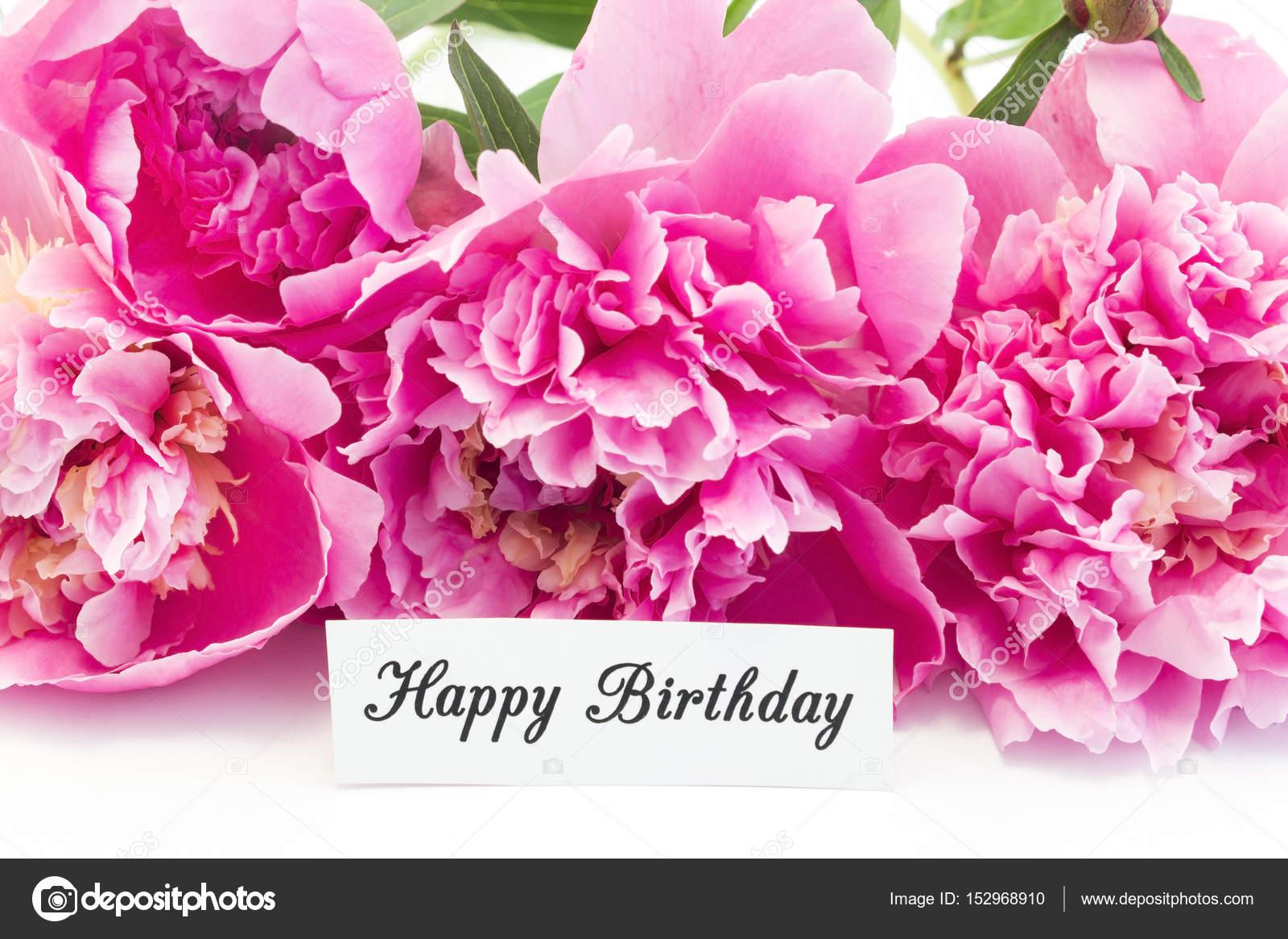 Mazzo Di Fiori Happy Birthday.Happy Birthday Card With Bouquet Of Pink Peonies Stock Photo