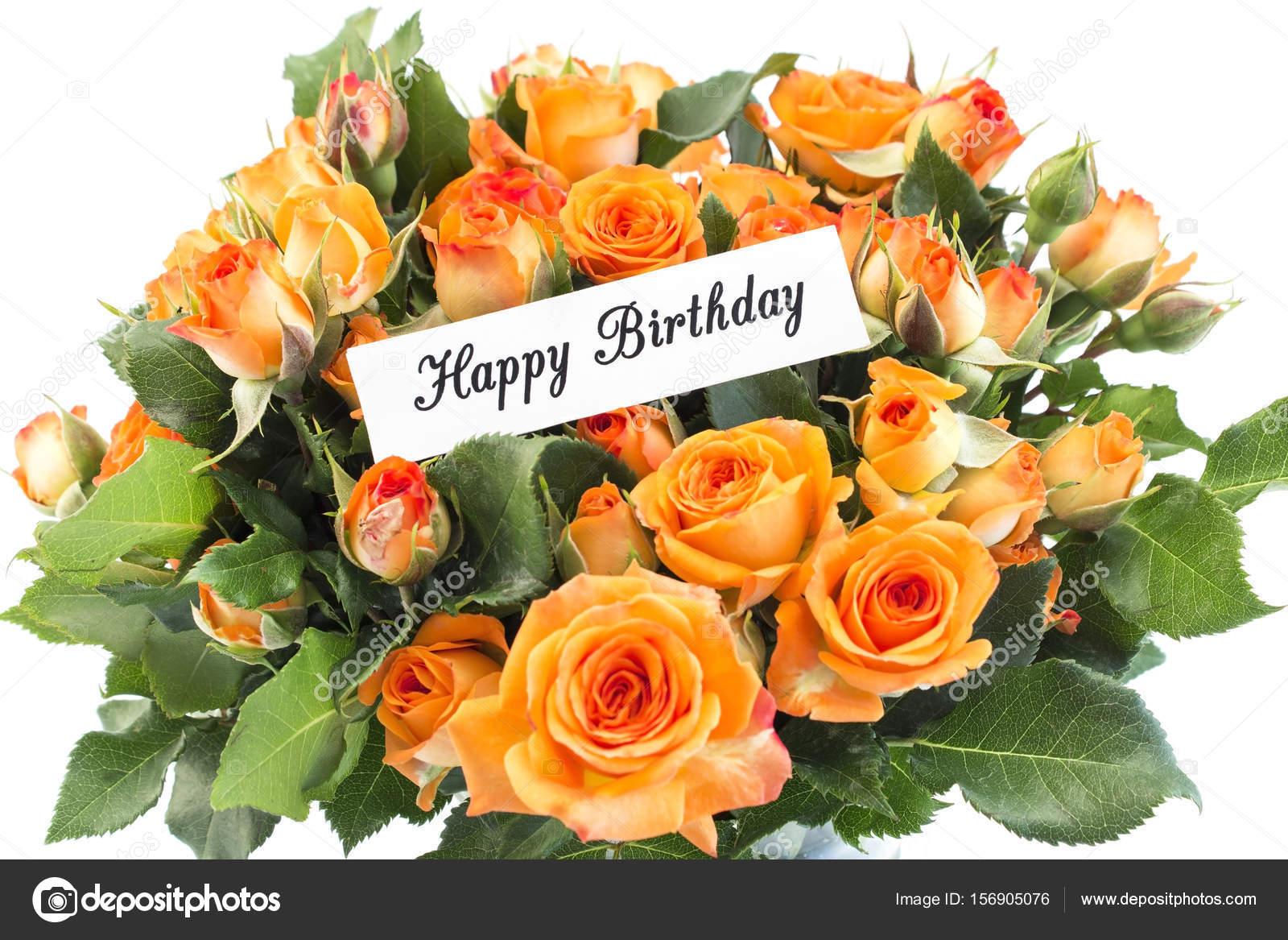 Cartolina Di Buon Compleanno Con Bouquet Di Rose Arancio Foto