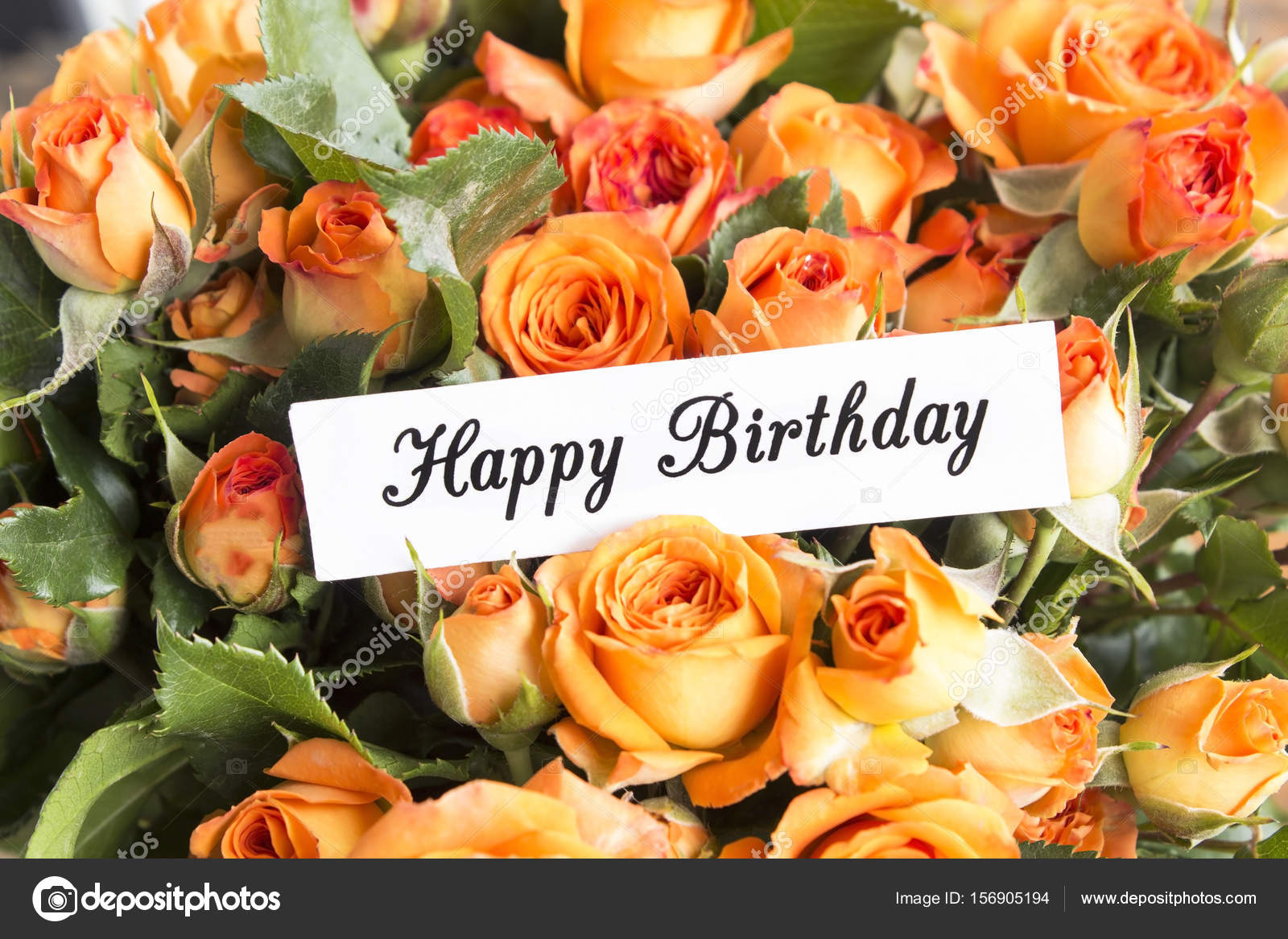 happy birthday card with bouquet of orange roses — stock