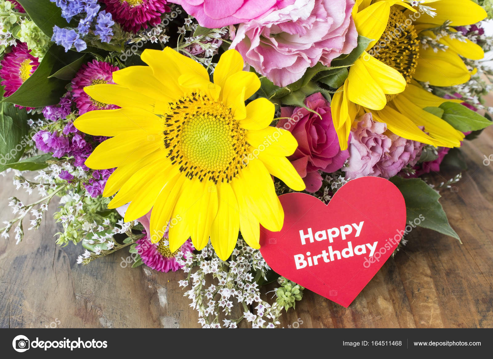 Happy birthday card with bouquet of summer flowers stock photo happy birthday card with bouquet of summer flowers stock photo izmirmasajfo