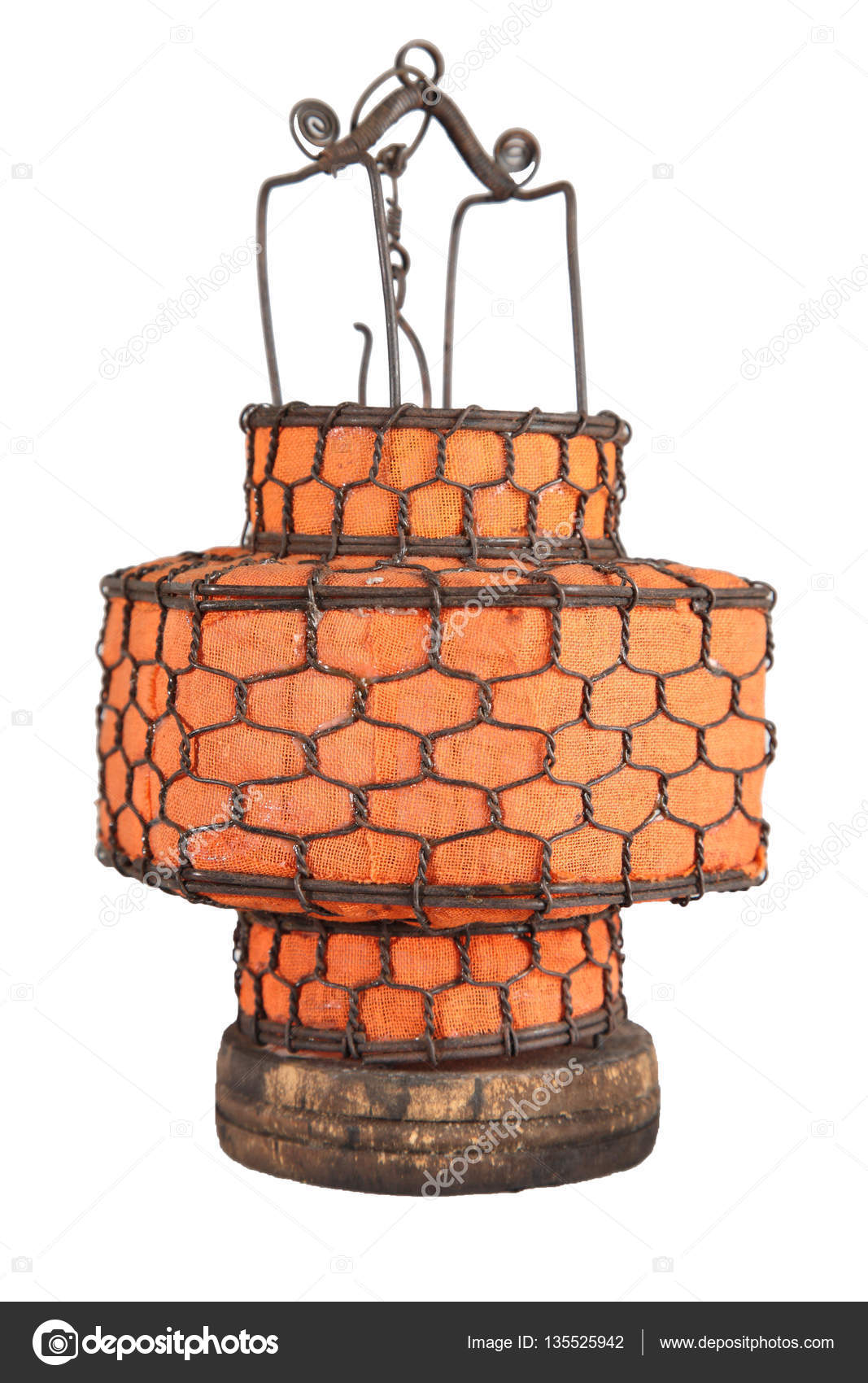Hell orange antiken Stoff Laterne isoliert auf weißem Hintergrund ...