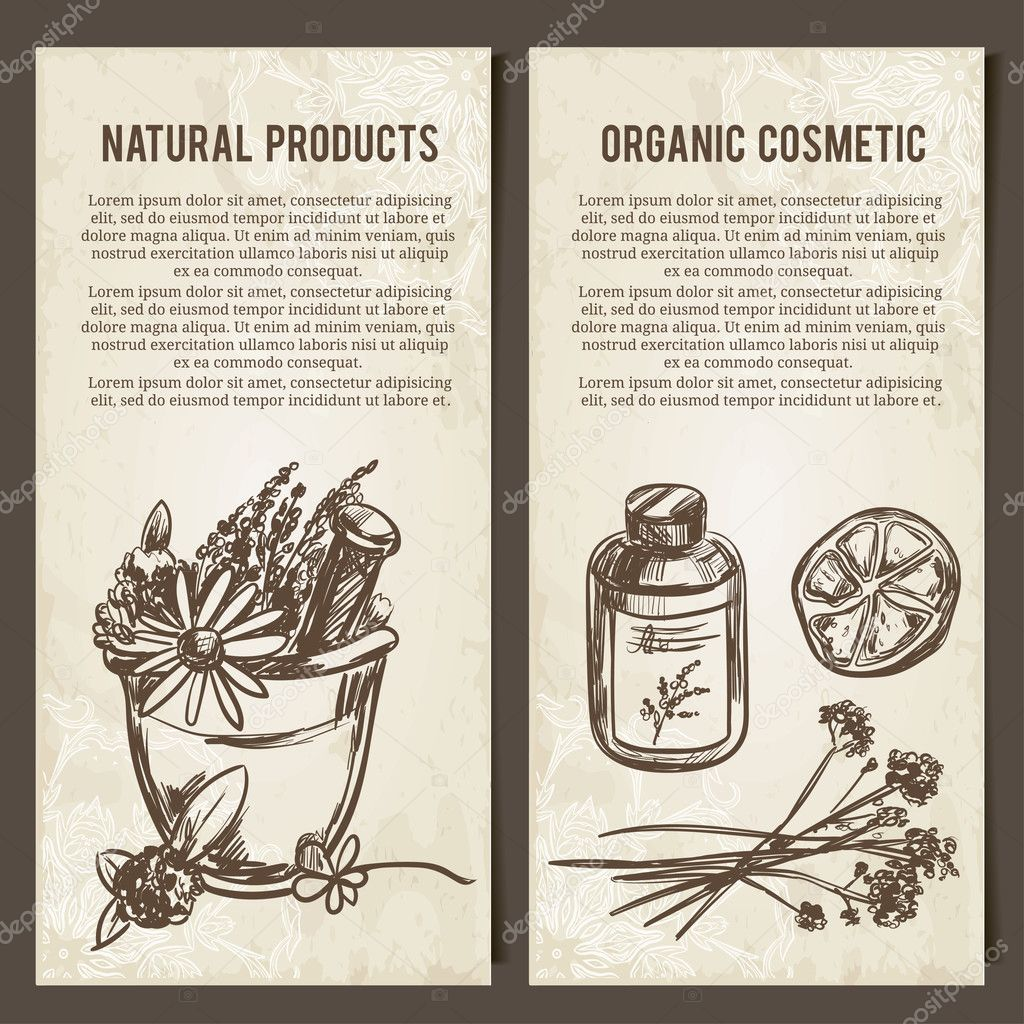 Set of vector cards template for cosmetics, store, label, natural and organic products
