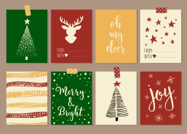 Merry Christmas and Happy New Year vintage gift tags cards with calligraphy.