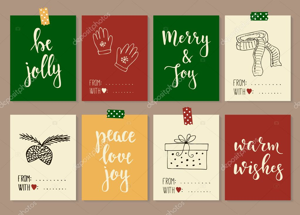 merry christmas and happy new year vintage gift tags and cards with calligraphy handwritten lettering hand drawn design elements printable items vector