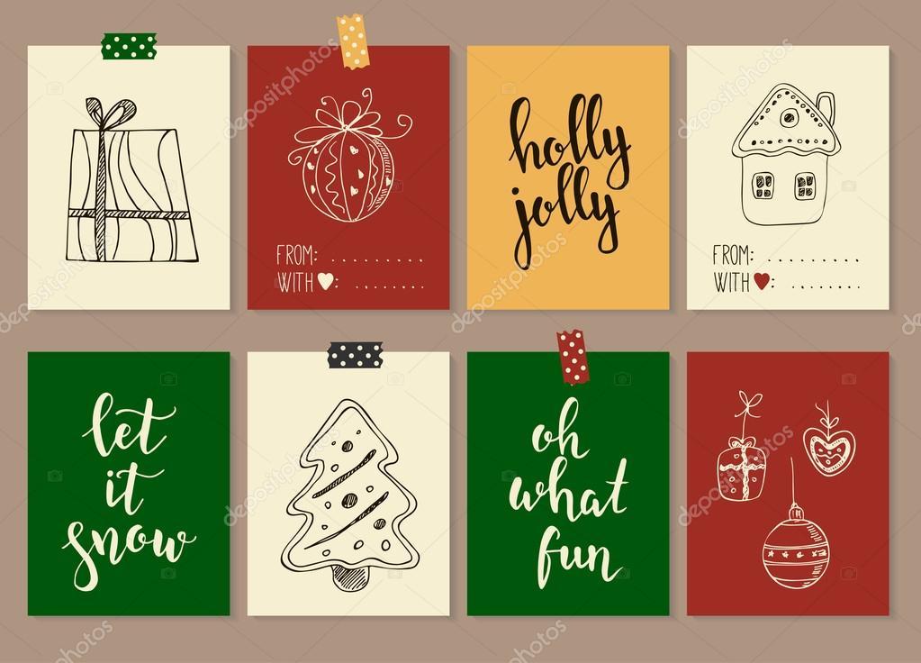 Frohe Weihnachten und Happy New Year Vintage Geschenk Stichwörter ...