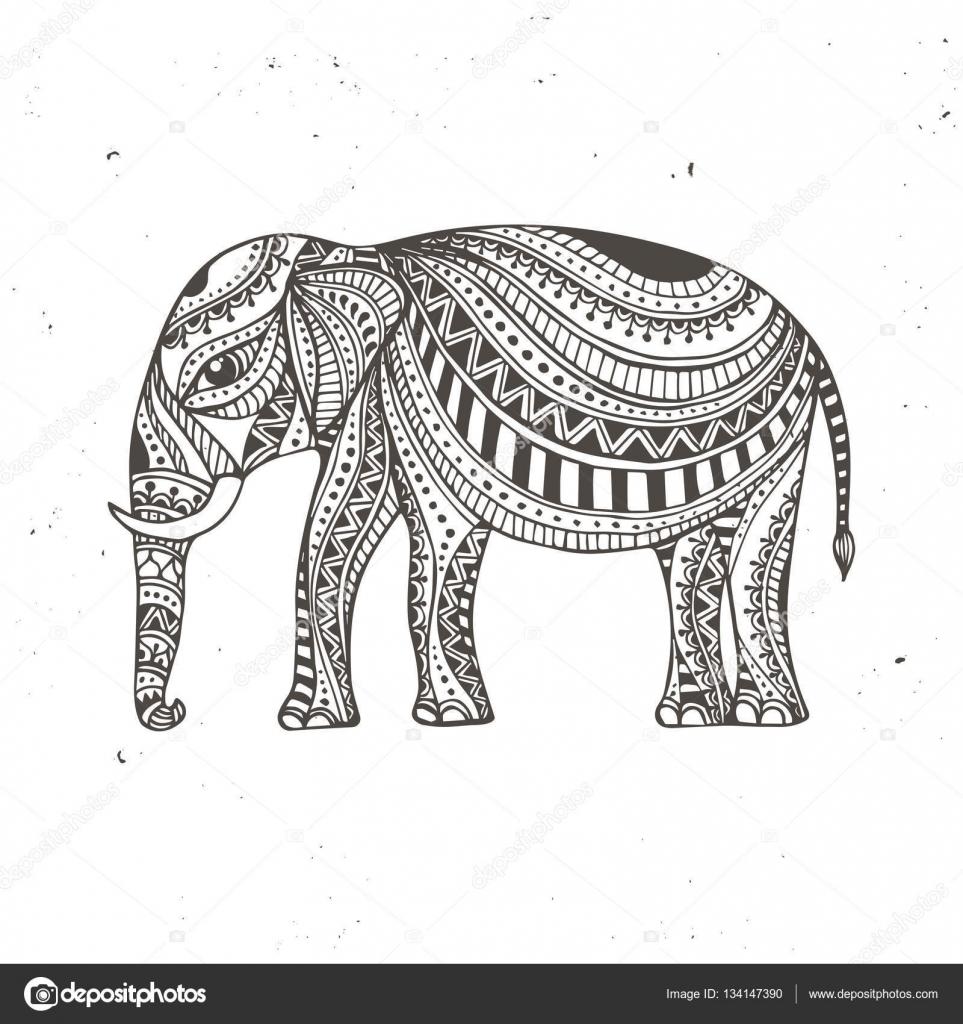 Elefante indio dibujado a mano. Amuleto de árabes y judío ...