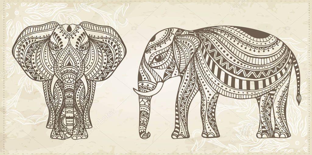 Indian Hand Drawn Elephant. Arabic and Jewish amulet. Vector Illustration