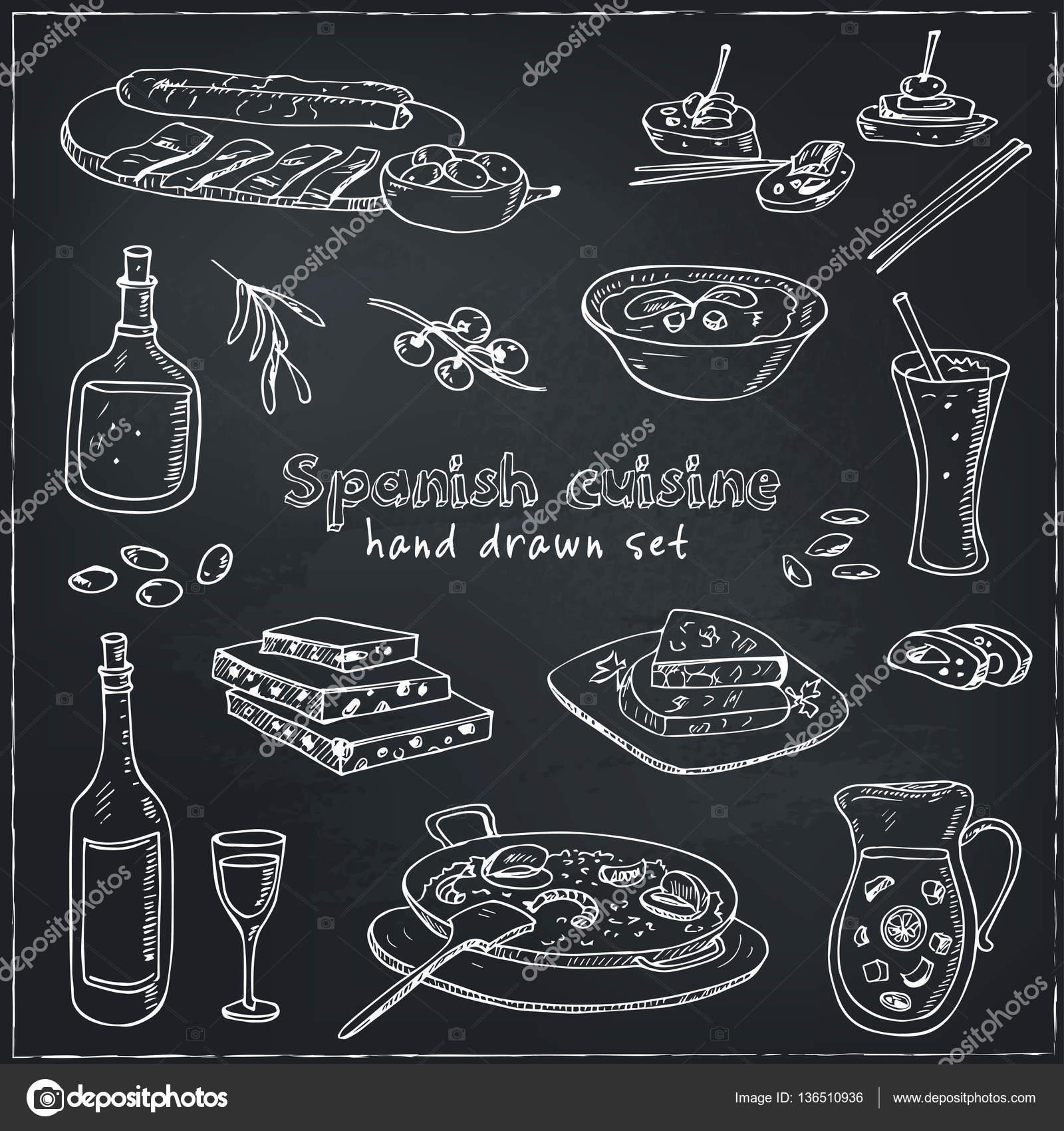 Vektor hand gezeichnete Satz der spanischen Küche: Suppe, Leber in ...